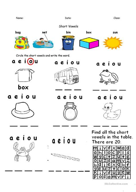 short vowels aeiou  uploaded worksheet  esl
