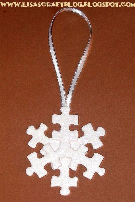 diy puzzle piece snowflake ornament ornaments pinterest