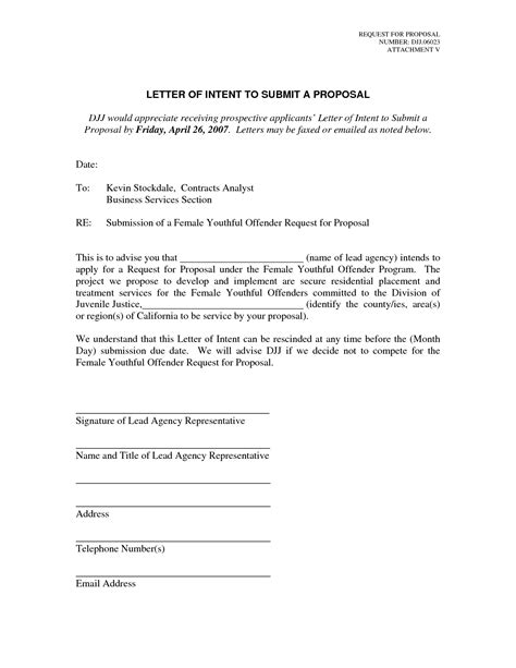 Rfp Letter Of Intent Template by Best Photos Of Letter Of Intent For Sle