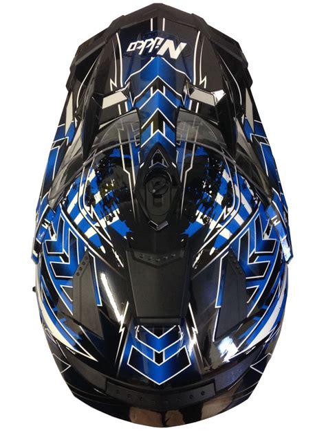 Motorradhelm MX Enduro Quad Helm Schwarz Blau mit Visier