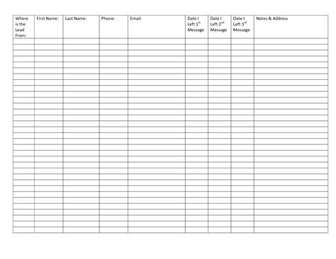 5 best images of printable blank spreadsheet templates