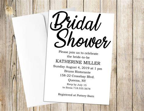 Modern Black & White 5x7 Bridal Shower Invitation   Etsy ...
