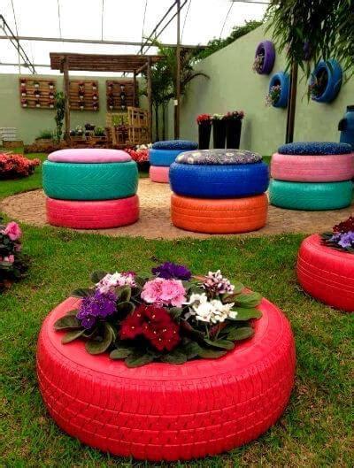 Neumáticos Reciclados 20 Ideas Para El Jardín Diario