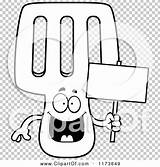 Spatula Happy Coloring Clipart Mascot Holding Sign Outlined Cartoon Vector Thoman Cory sketch template
