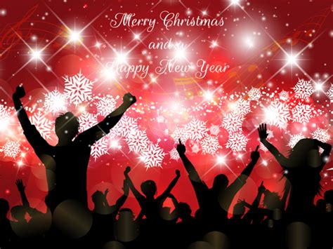 Christmas Party Background With People Silhouetter Vector