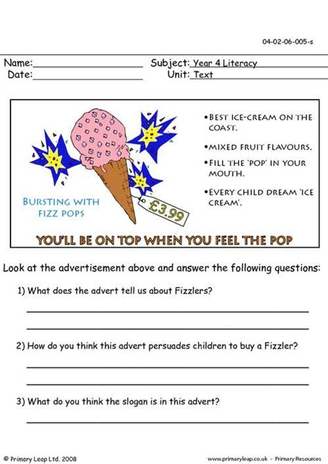 primaryleapcouk advertising worksheet marketing