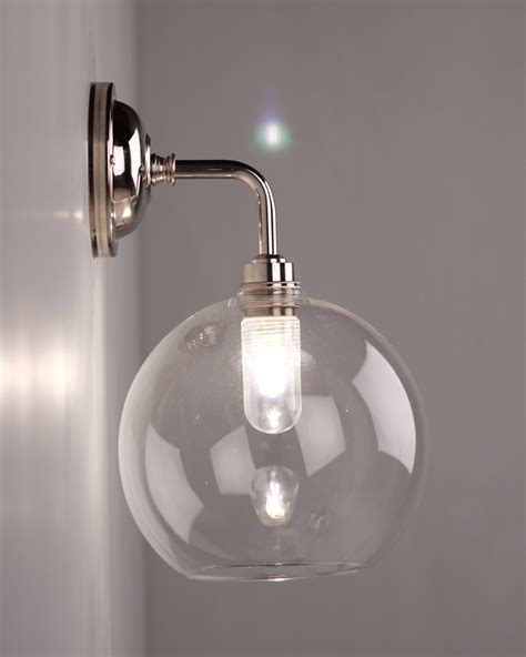 lenham contemporary clear glass bathroom wall light