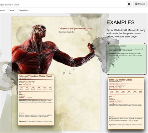dd  monster manual page template  google docs dd