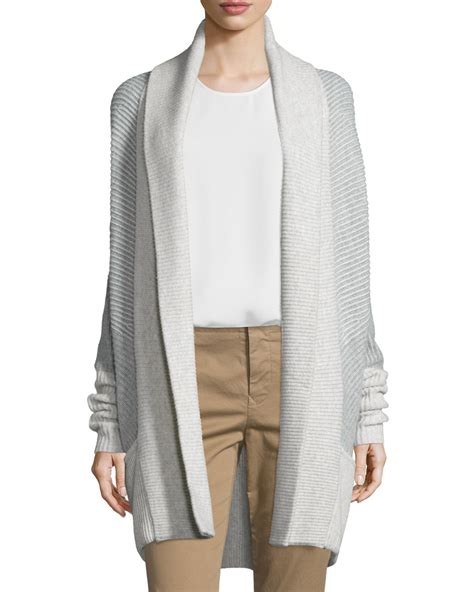 Vince Colorblock Ribbed Cashmere Blend Cardigan In Gray Lyst