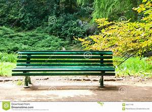 Vintage Green Wooden Bench In The Park Stock Photo - Image ...