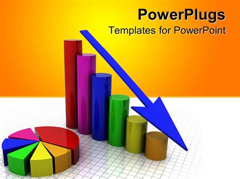 powerpoint graph templates powerpoint template a business graph showing gradually decrease in sales with yellow background