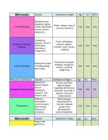 Different Types of Anemia Chart Lab
