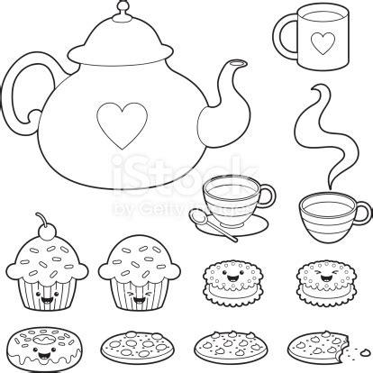 tea time kawaii coloring set stock vector art  images  afternoon tea  istock