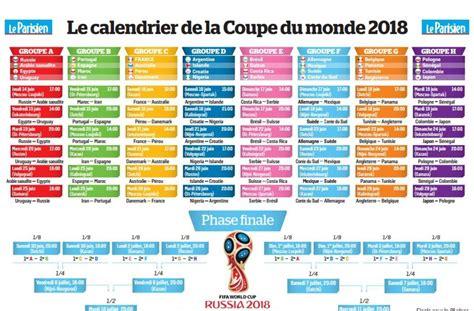 coupe du monde  le calendrier  imprimer le parisien