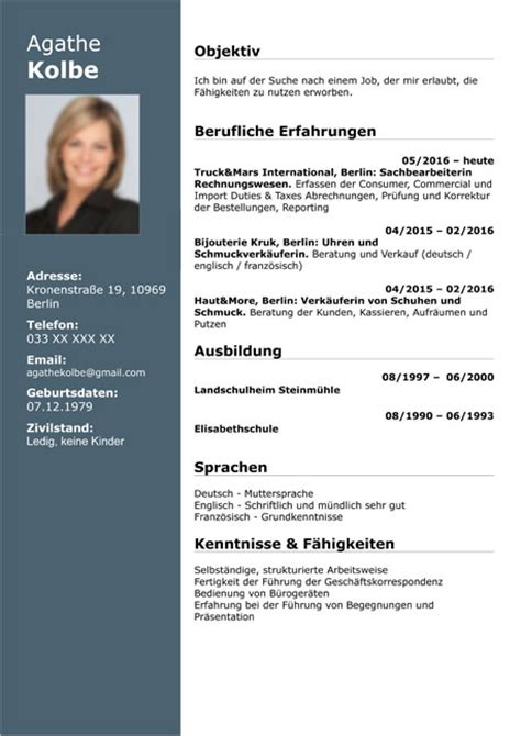 Cv Beispiel by Curriculum Vitae Resume Template Sle German Austria
