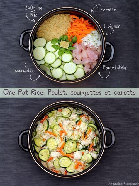 pot rice poulet courgettes  carotte amandine cooking