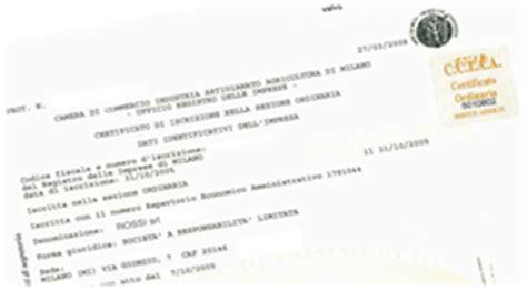 iscrizione di commercio costo certificato camerale