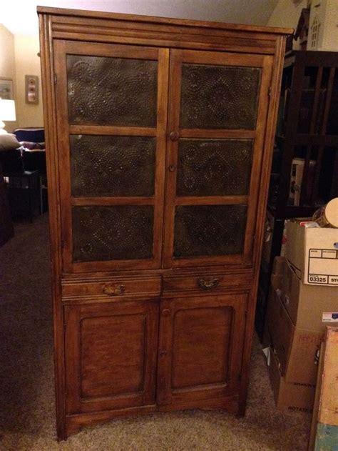 beautiful antique  tin pie safe cupboard cabinet