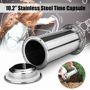 10, 2, inch, waterproof, stainless, steel, time, capsule, storage, box, lock, container, for, future, gift
