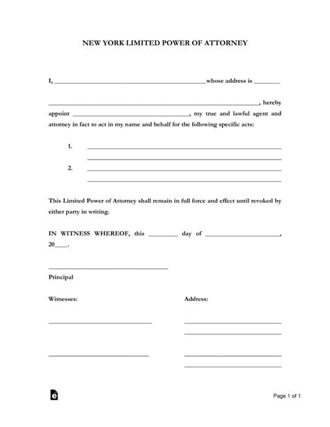 blank power of attorney form ny free new york limited power of attorney form word pdf