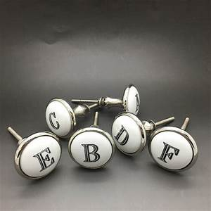 ceramic alphabet or number letter cupboard drawer knob by With letter drawer knobs