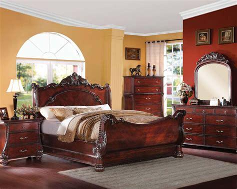 bedroom set  cherry finish abramson  acme furniture