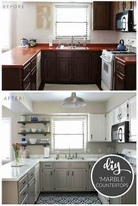 budget kitchen makeover diy faux marble countertops With what kind of paint to use on kitchen cabinets for low cost wall art