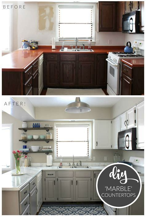 Budget Kitchen Makeover   DIY Faux Marble Countertops