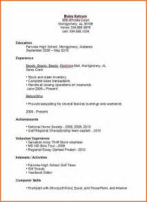 basic resume sles for college students 7 basic high resume template budget template letter