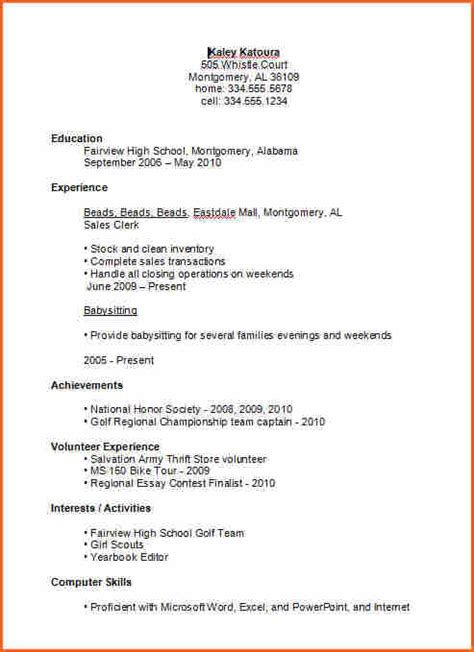 Basic Resume Exles For College Students by 7 Basic High School Resume Template Budget Template Letter