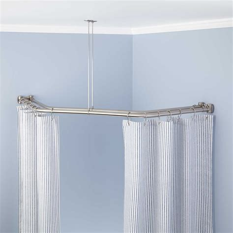 curtains corner window curtain rods half oval shower