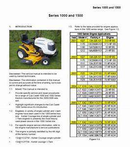 Cub Cadet Ih 1000  U0026 1500 Series Service Repair Manual
