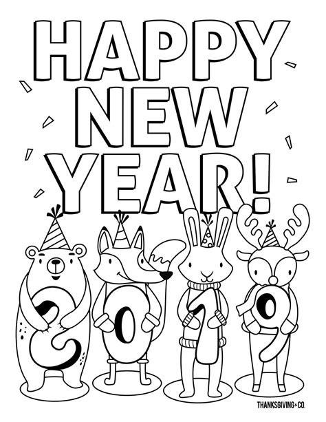 happy new year coloring pages coloring pages happy new year drawing 2019