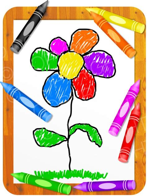 kids colouring crayons flower clip art prawny clipart