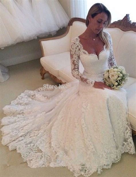 2015 Vintage Tulle Elegant Long Sleeve Lace Wedding Dress
