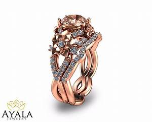14k rose gold morganite engagement rings set unique With wedding rings rose gold