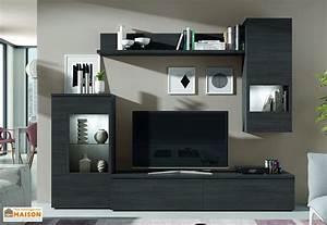 Meuble Mural Salon : ensemble meuble tv design mural berne 240x195cm ramis ~ Teatrodelosmanantiales.com Idées de Décoration