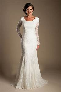 modest mermaid scoop neck long sleeve lace wedding dress With long sleeve modest wedding dresses