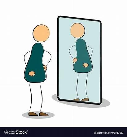 Reflection Mirror Vector Self Looking Cartoon Painting