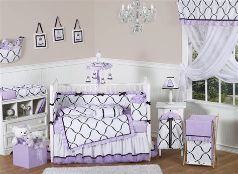 purple nursery bedding princess black white and purple crib bedding collection