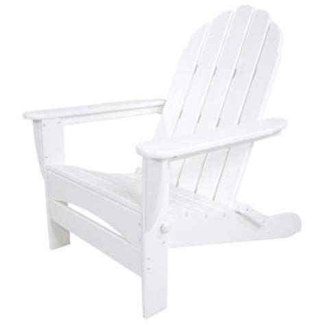 White Adirondack Chair Home Depot by Polywood Classic White Oversized Curveback Patio