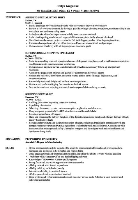 shipping specialist resume sles velvet