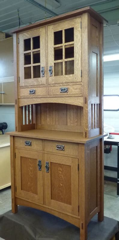 small mission style buffet  hutch finewoodworking
