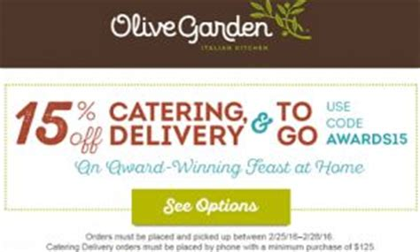 current olive garden specials olive garden 15 catering and togo code on