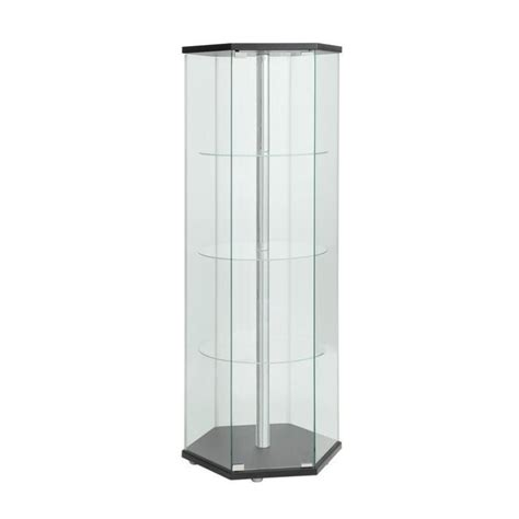 coaster glass curio cabinet in cappuccino coaster hexagon glass curio cabinet in black 950276