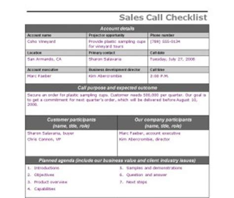 sales call checklist sales call template