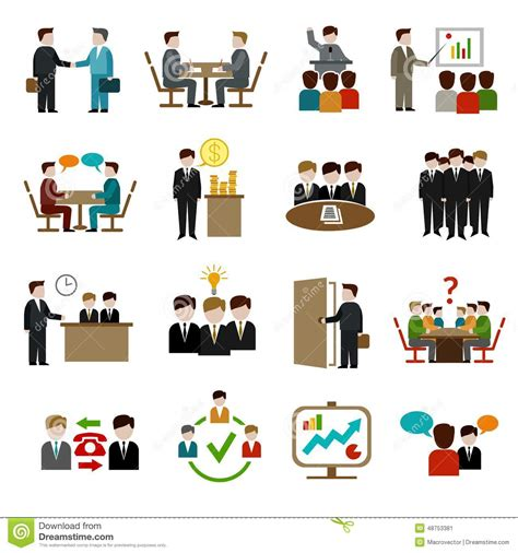 meeting icons set stock vector image