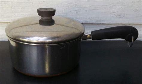 revere ware  quart qt copper clad bottom sauce pan pot  lid usa early vintage revere