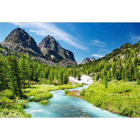 stickers muraux deco paysage montagne riviere art deco