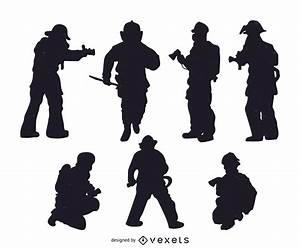 Set Of Firefighter Silhouettes